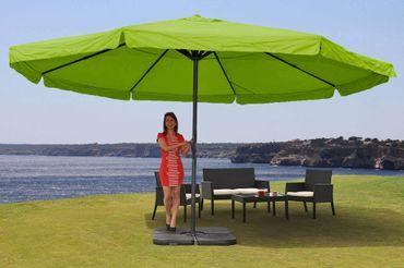 Alu-Sonnenschirm Meran Pro, Gastronomie Marktschirm mit Volant Ø 5m grün mit Ständer – Bild 2