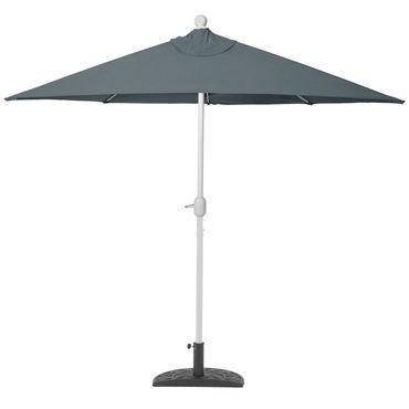 Alu-Sonnenschirm halbrund, Halbschirm Balkonschirm, UV 50+ 270cm anthrazit mit Ständer – Bild 4