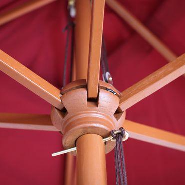 Holz-Sonnenschirm Gartenschirm Marktschirm, 3m bordeaux – Bild 4