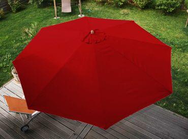 Holz-Sonnenschirm Gartenschirm Marktschirm, 3,5m bordeaux – Bild 5