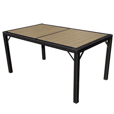 Poly-Rattan Gartentisch, Tisch Esszimmertisch, 150x90cm WPC anthrazit – Bild 1