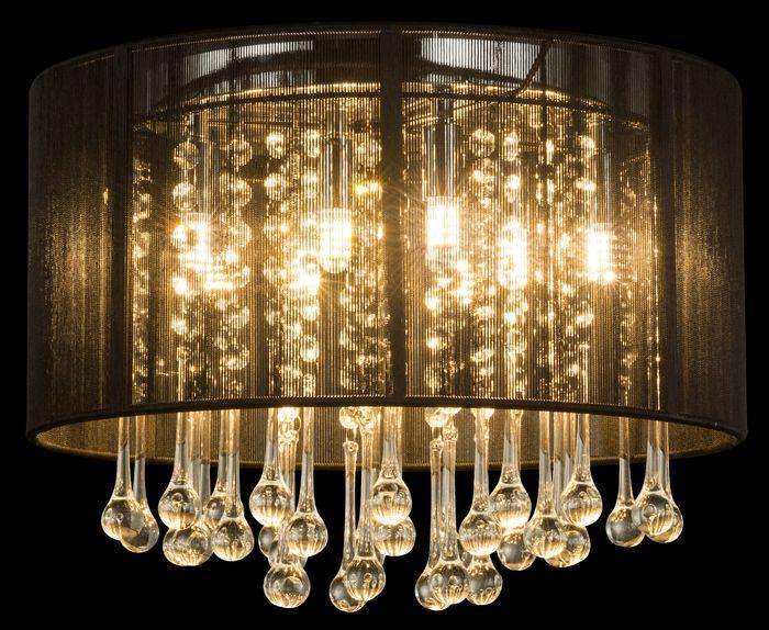 Deckenlampe Bagana Chrom Seide Schwarz Glaskristalle Klar