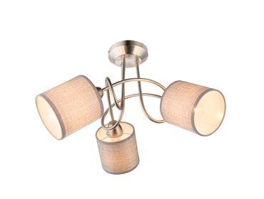 Deckenlampe PACO nickel matt, Textil grau, Kunststoff