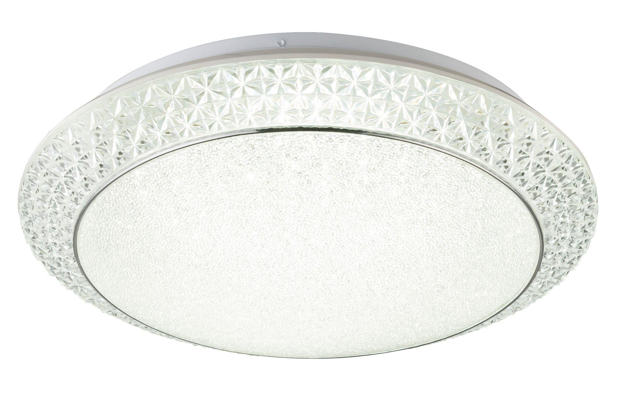 deckenlampe metall weiss acryl satiniert kunststoffkristalle klar dimmbar fernbedienung. Black Bedroom Furniture Sets. Home Design Ideas