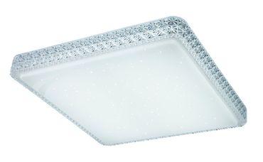 Deckenlampe Metall weiss, Acryl satiniert, Kunststoffkristalle klar, Nachtlicht, dimmbar, Fernbedienung – Bild 5