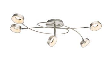 Deckenlampe ABRIL nickel matt, Kunststoff satiniert, Spotköpfe beweglich