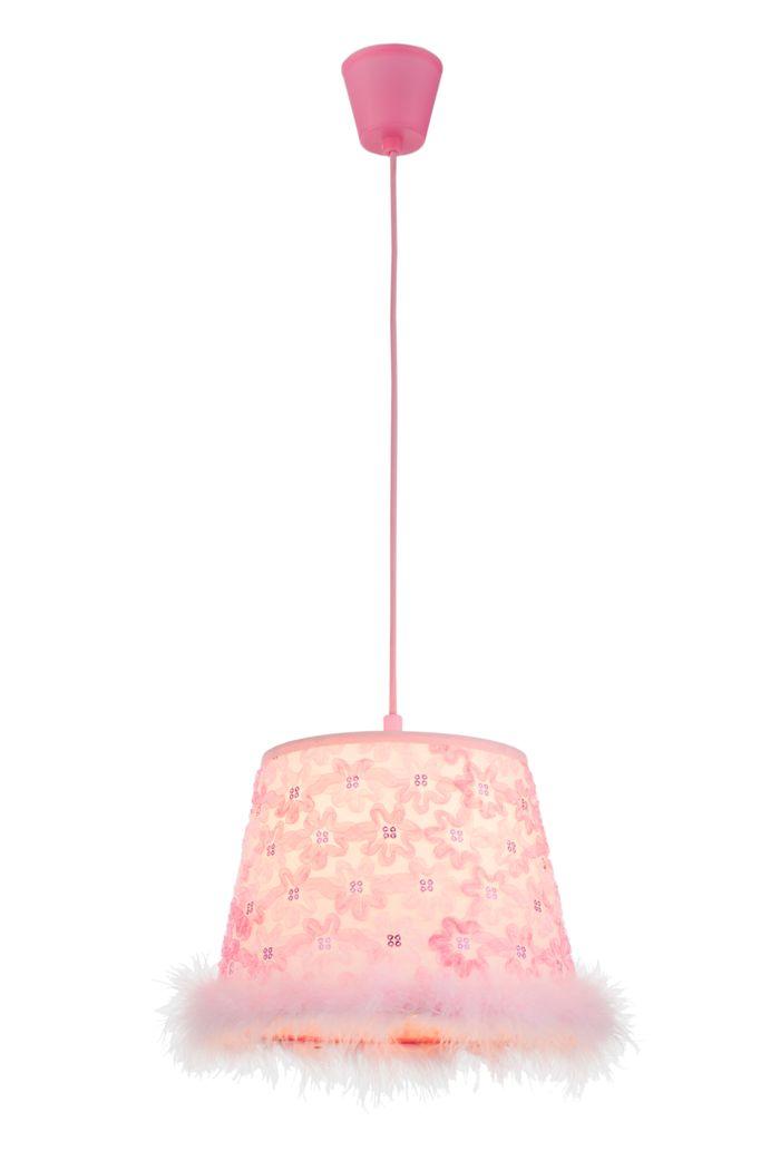 Hängelampe TARSO, Kunststoff pink, Textil pink, Globo 15720