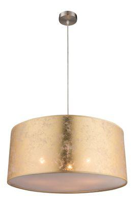 Hängelampe AMY, nickel matt, Textil goldfarben, Globo 15187H1 – Bild 1