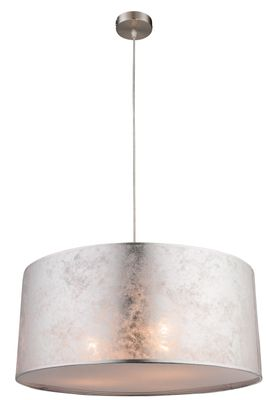 Hängelampe AMY I, nickel matt, Textil silber metallic, Globo 15188H1 – Bild 1