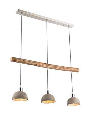 Hängelampe JEBEL nickel matt, Holz, Betonschirm aussen grau, innen silber – Bild 1