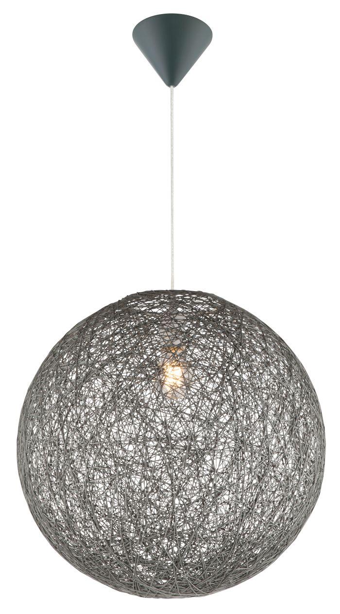 Hängelampe COROPUNA, Kunststoff grau, Textil grau, Globo 15253G