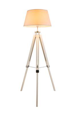 Stehlampe MAREEN, Holz weiss, Textil weiss, Globo 58292 – Bild 1
