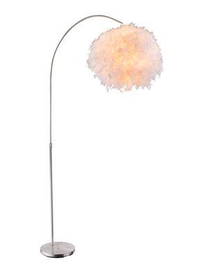Stehlampe KATUNGA, Metall nickel matt, Textil weiss, Globo 15057S – Bild 1
