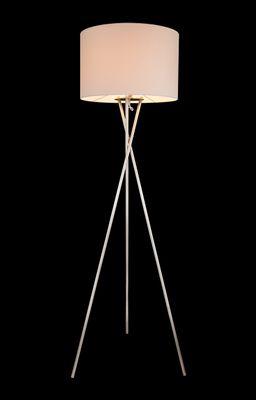 Stehlampe GUSTAV, nickel matt, Textil weiss, Globo 24685N – Bild 1
