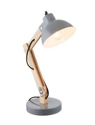 Tischlampe TONGARIRO, Holz hell, Metall grau, Globo 21503