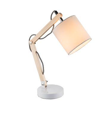 Tischlampe MATTIS, Metall weiss, Textil weiss, Globo 21510