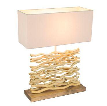 Tischlampe JAMIE, Holz natur, Textil beige, Globo 21647 – Bild 2