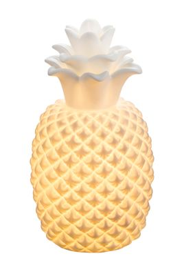 Tischlampe CHAITA Porzellan weiss matt, Ananas