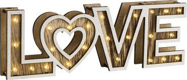 Tischlampe LOVE Kunststoff, Holz, Schalter – Bild 2