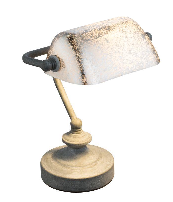 Tischlampe ANTIQUE, Metall rostfarben, Acryl Blattgold, Globo 24917R