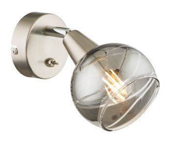 LED Strahler ROMAN, nickel matt, Glas rauch, Globo 54348-1 – Bild 3