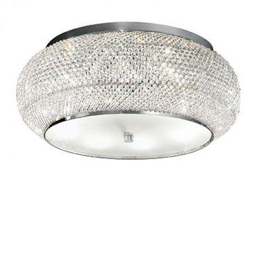 Kristall Deckenlampe Ø55cm 10-flammig silberfarben