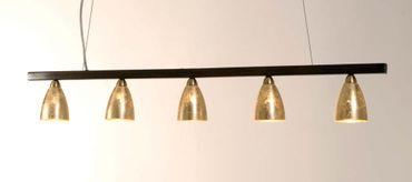 Hängelampe 5-flg. ALICE TRAVE, Muranoglas weiss mit Blattgold – Bild 1