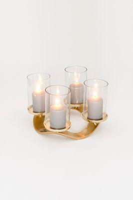 Adventskranz 4-flg. CORONA PICCOLO, Aluminium vergoldet und poliert gold