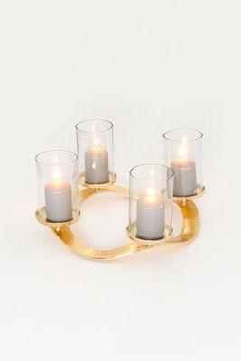 Adventskranz 4-flg. CORONA GRANDE, Aluminium vergoldet und poliert gold Holländer 201 3515