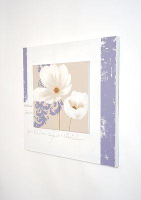 Wandbild SEZIONE, Leinwand auf Holzrahmen weiss-beige-violett