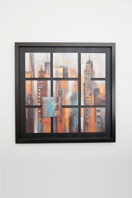 Wandbild CENTRO, Holz schwarz-orange-rost