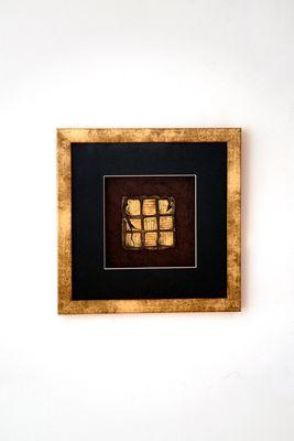 Wandbild MICADO 1, Holz-Glas-Kunststein gold-schwarz