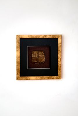 Wandbild MICADO 2, Holz-Glas-Kunststein gold-schwarz