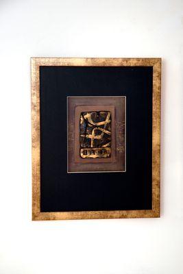Wandbild IMMAGINE 2, Holz-Glas-Kunststein gold-schwarz