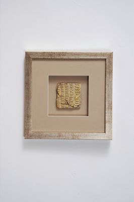 Wandbild GOIA 4, Holz-Glas-Kunststein silber-gold-sand