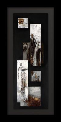 Wandbild QUARTIERE, Holz schwarz-grau-weiss-braun