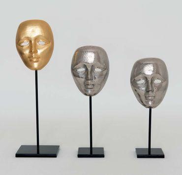 Maske CANDIDATO GRANDE, Aluminium versilbert silber – Bild 1