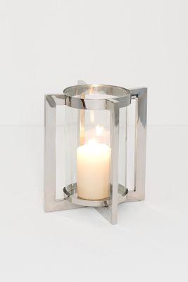 Windlicht 1-flg. COPERTO GRANDE, Aluminium vernickelt und poliert silber