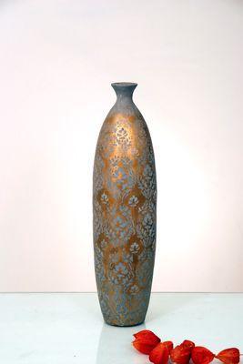 Dekovase BARBARA GROSS, Keramik gold-silber