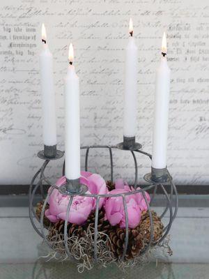 Kerzenhalter Kerzenschale Kerzenkorb Metallkorb Landhaus – Bild 1