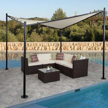 Pergola Garten Pavillon, stabiles Stahl-Gestell, 3x3m creme – Bild 1