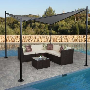 Pergola Garten Pavillon, stabiles Stahl-Gestell 3x3m anthrazit - 27107 – Bild 1