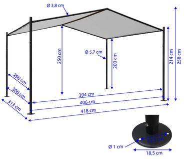 Pergola Garten Pavillon Terrassenüberdachung, 4x3m anthrazit - 27110 – Bild 6