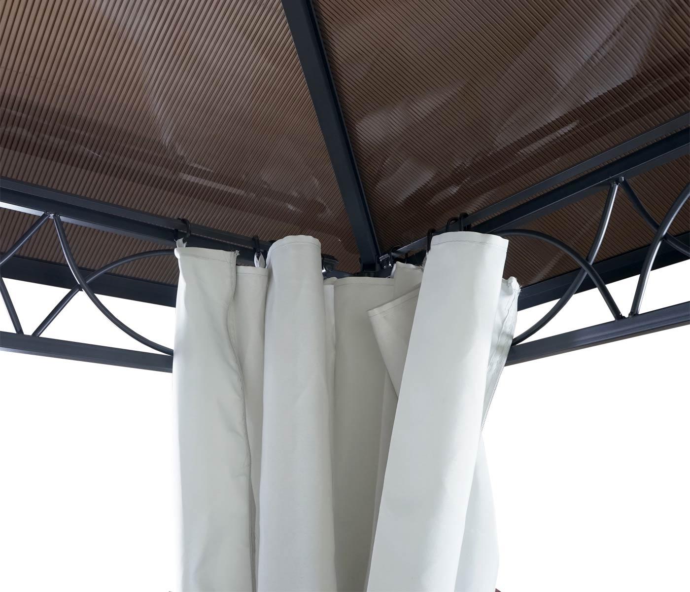 Liebenswert Pergola Dach Beste Wahl Garten Pavillon, Kunststoff-dach Seitenwand Alu Hellgrau 3x3m