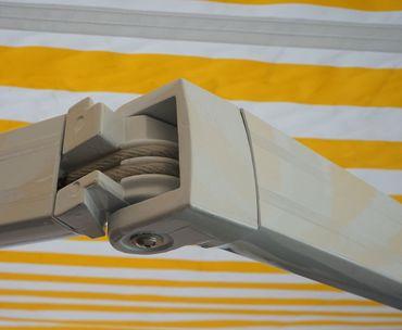 Alu-Markise, Gelenkarmmarkise Sonnenschutz 4x3m, Acryl Gelb/Weiss – Bild 5