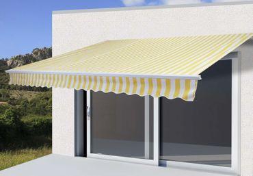 Alu-Markise, Sonnenstoren Gelenkarmmarkise Sonnenschutz 4,5x3m, Polyester Gelb/Weiss - 27122 – Bild 1