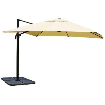 Ampelschirm, Gastronomie Sonnenschirm, 3x3m (Ø4,24m) Polyester/Alu 23kg, creme mit Ständer – Bild 1