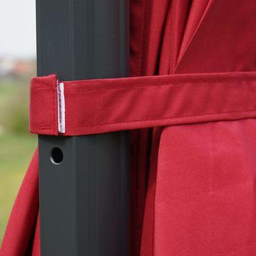 Ampelschirm, Gastronomie, 3x3m (Ø4,24m) Polyester Alu/Stahl 23kg, Flap, bordeaux mit Ständer – Bild 5