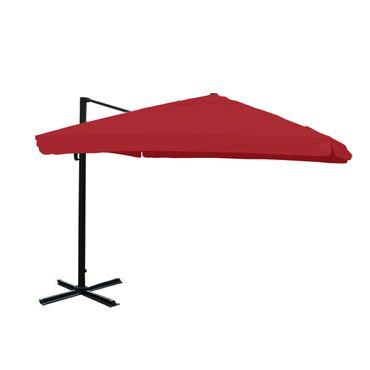 Ampelschirm, Gastronomie, 3x3m (Ø4,24m) Polyester Alu/Stahl 23kg, Flap, bordeaux ohne Ständer, drehbar – Bild 1