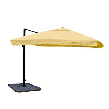 Ampelschirm, Gastronomie, 3x3m (Ø4,24m) Polyester Alu/Stahl 23kg, Flap, creme mit Ständer, drehbar – Bild 1